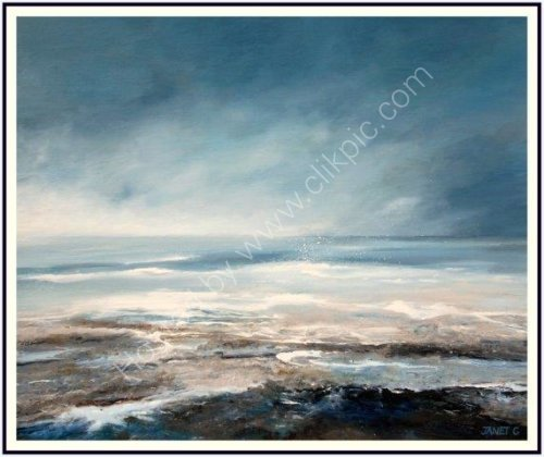 contemporary art, moody, seascape, atmospheric landscape, textural, abstract, impressionist, art