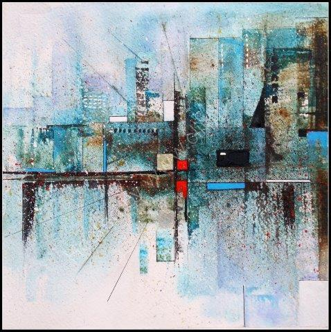 'On the Level' semi abstract watercolour