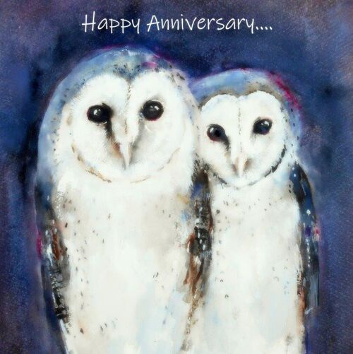 happy anniversary, cute, beautiful, fine art, watercolor, large card, quality, owls, birds, with love, for her, wife, daughter, couple, husband, sister,