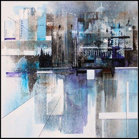 'The Tower' semi abstract watercolour