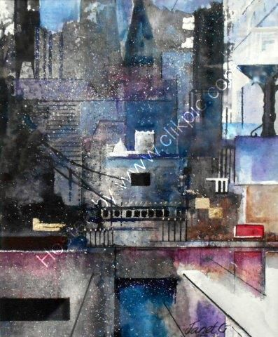 aztec, watercolour, city, buildings, semi abstract, contemporary art