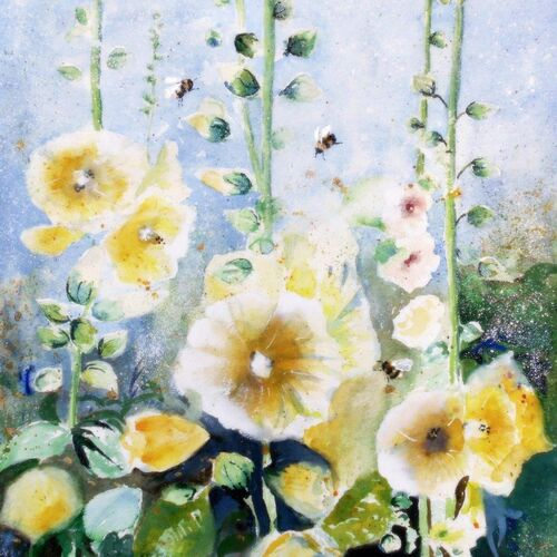 Hollyhocks greeting card, bumble bees, thank you card, with sympathy, happy birthday, get well soon, Easter Card, Mothers Day, With Sympathy, Yellow, blue,
