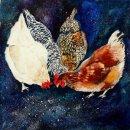 'Chicken Feed' original watercolour