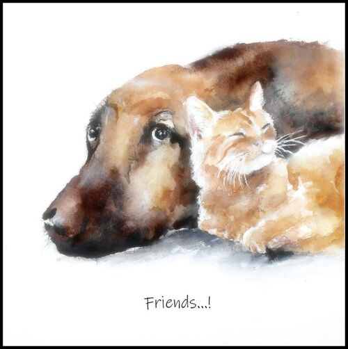 Happy birthday, card for him, her, friends, dog, cat, love, friendship, thank you, get well, blank inside, cute, animal, large square, watercolor, fine art