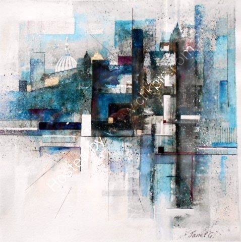 abstract, cityscape, city, London, semi abstract, watercolour