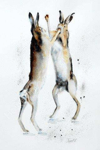 'Hare Frolics' original watercolour