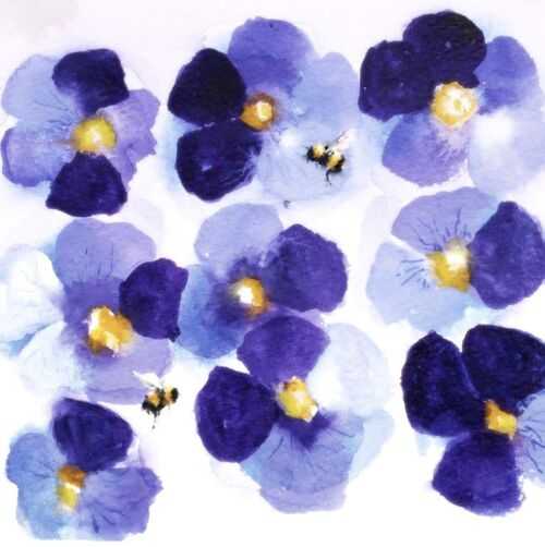 happy birthday, card for her, wife, mother, daughter, bees, pansies, get well, thank you, large, blank inside,