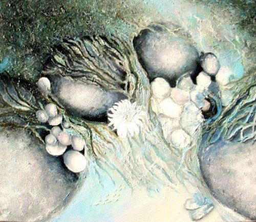impressionist, textural, landscape, seascape, ocean, art, contemporary, seaweed, rock