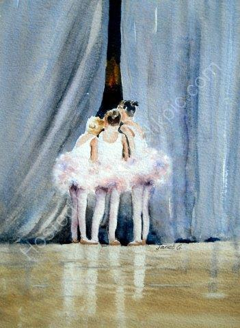 ballet, dancers, children, cute, greeting, card, watercolour, birthday, celebration,