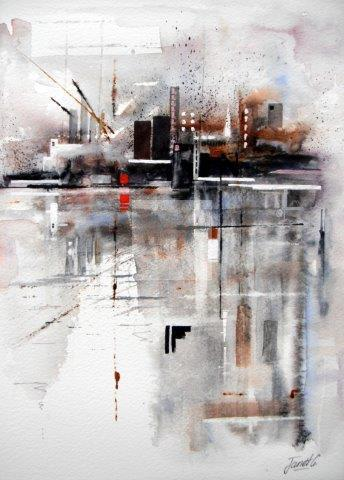 city, London, city scape, contemorary art, watercolour, semi abstract