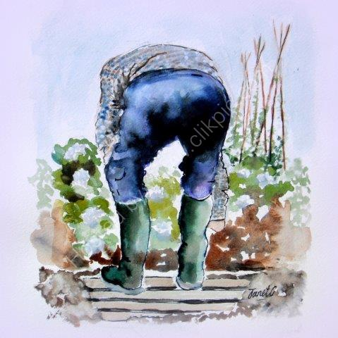 greeting, card, watercolour, birthday, celebration, quirky, funny, gardening, male, men