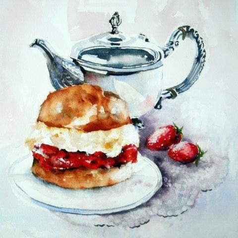 cream, tea, strawberry, English, British afternoon tea, jam, teapot, contemporary, female birthday, devon clotted cream, cornish cream tea, countryside, feamle,art, watercolour, birthday, greeting, card, tradional