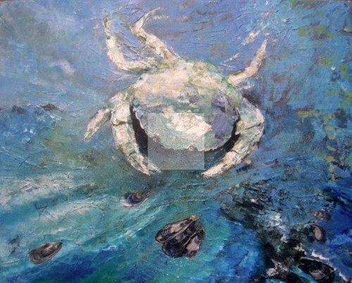 impressionist, textural, landscape, seascape, ocean, art, contemporary, crab, Cornwall