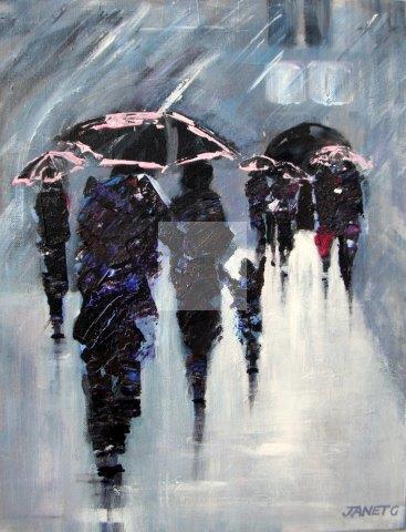 Raining, city streets, original painting, rain, umbrellas, reflections, acrylic on canvas, contemporary artwork,