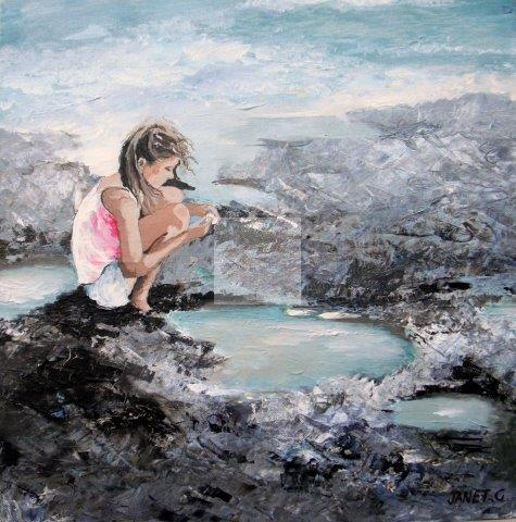 impressionist, textural, landscape, seascape, ocean, art, contemporary, little girl, rock pool