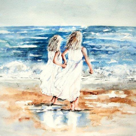 children, sisters, love, family, coastal, beach, sea, seaside, white dresses, paddling, girls, fine art painting