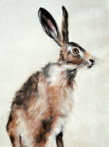 Hares, wildlife animals, original watercolour, fine art, beautiful artwork, realistic design, contemporary art, British brown hare, detailed