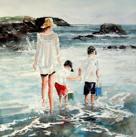 boys, beach, mother, hold hands, water, coastal, paddling, fishing, family, art, watercolour, sea, fine art