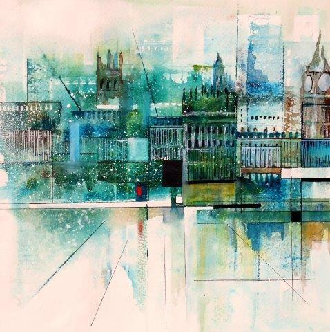 city, contemporary, watercolour, city, London, cityscape, abstract, landscape, watercolor