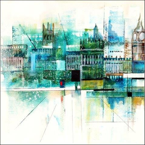 city, contemporary, watercolour, city, London, cityscape, abstract, landscape, watercolor