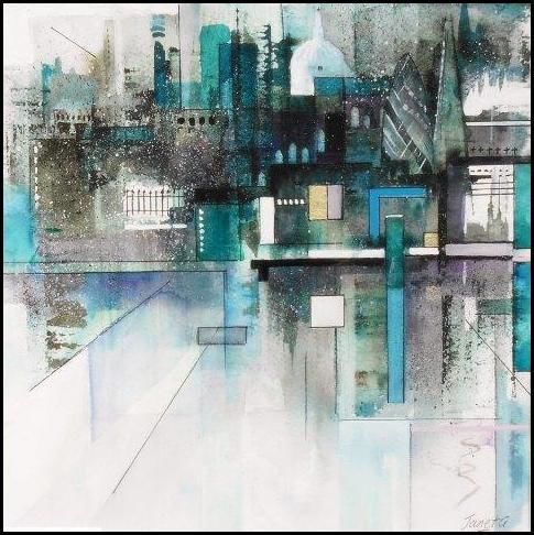 london, contemporary, art, cityscape, city, watercolour, abstract, watercolor