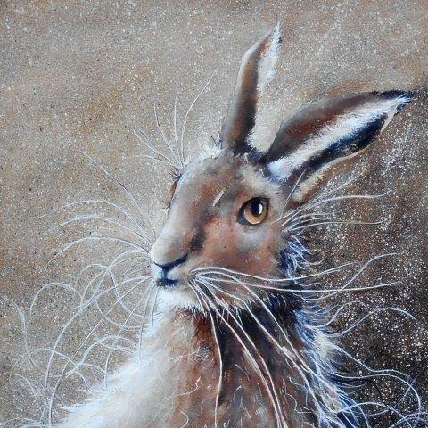 hare, watercolor, watercolour, art, wildlife, contemporary, art,