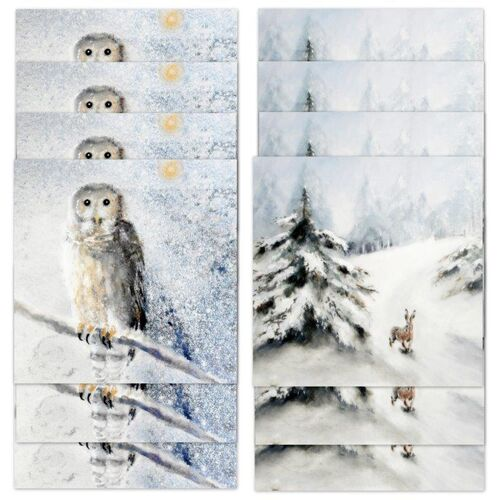 Seasonal Cards, Pack, set, 12 cards, seasonal, 5 inch, square, multipurpose, snowy, owl, snow, hare, wildlife, nature, fine art, cheap, luxury, thick card, get well soon