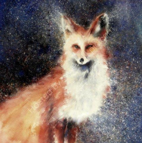 greeting, card, watercolour, birthday, fox, wildlife, urban fox, male birthday, celebration, anniversary, art, birthday