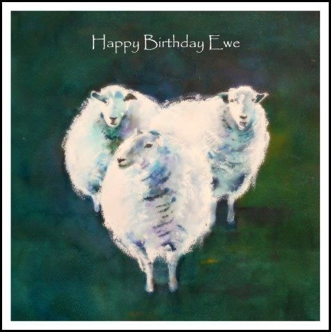 Greeting Card Watercolour Farmyard Farm Sheep Easter Birthday