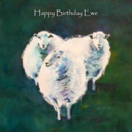 greeting, card, watercolour, farmyard, farm, ewe, contemporary design, blank inside, sheep, Easter, birthday, celebration, anniversary, art, birthday