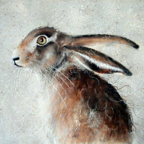 greeting, card, watercolour, birthday, hare, art, celebration, anniversary, wildlife card, forest animals, contemporary design