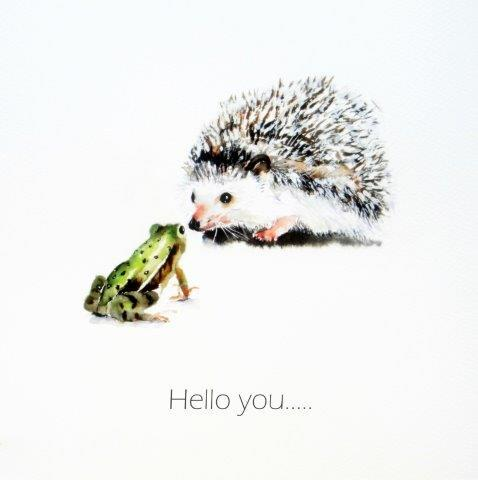 hedgehog, frog, quirky, contemporary, fine art, funny, get well soon, blank inside, greeting, card, watercolour, birthday, celebration, anniversary, art, birthday