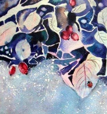 ladybirds, autumn, cute, art, insects, foliage, wildlife, designer, blank inside, autuminal greeting, card, watercolour, birthday, celebration, anniversary, art, birthday