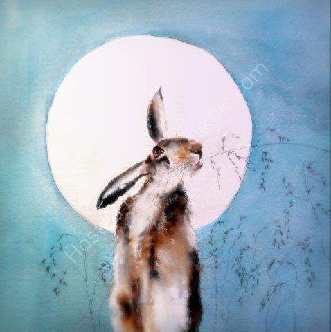 greeting, card, watercolour, hare, mystical, art, contemporary art, moonlight, wildlife card, cute,birthday, Easter, celebration, anniversary