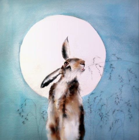 hare, art, watercolour, giclée, contemporary, watercolor, cute, moon, moonlit, wildlife