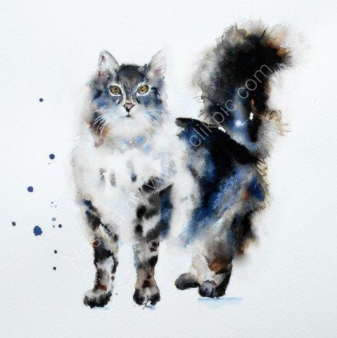 cute, cat, tabby, greeting, card, watercolour, birthday, celebration, anniversary, art, birthday