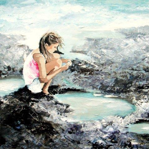 greeting, card, watercolour, birthday, rock, pool, beach, children, child, cute