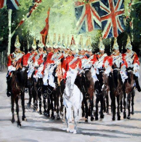 Royal Guards, London, Changing of the guard, queen, male birthday, fine art, horses, British, England, Royalhorses, art, greeting, card, watercolour, birthday, celebration, anniversary, art, birthday