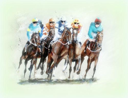 horse racing, racecourse, horses, jockey, watercolour, print, giclee, limited edition, horse lovers
