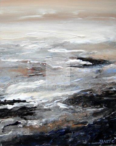 impressionist, textural, landscape, seascape, ocean, art, contemporary