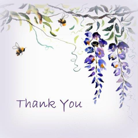 thank you, bees, wisteria, flowers, blank inside, large card, greeting, card, watercolour, birthday, celebration, anniversary, art, birthday