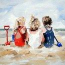 'Three Little Girls' Greeting Card
