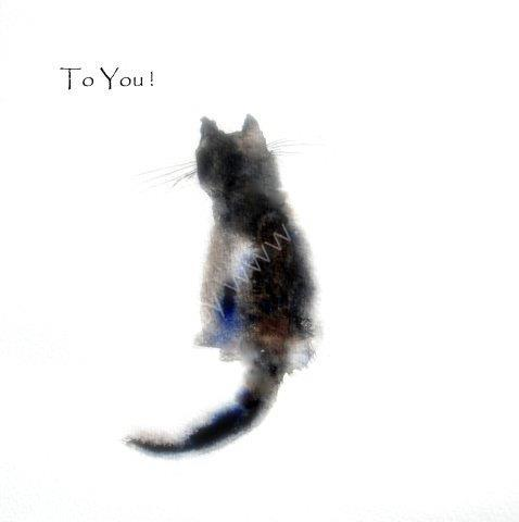 cute, cat, black, greeting, card, watercolour, birthday, celebration, anniversary, art, birthday