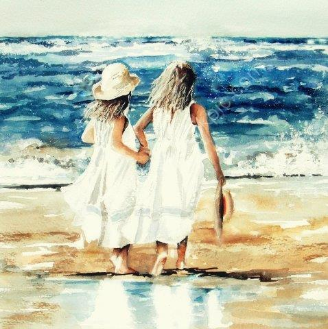 little, girls, beach, sisters, cute, sea, holiday, beautiful, giclée, print, art, watercolour, watercolor