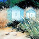 'Two Beach Huts' Greeting Card