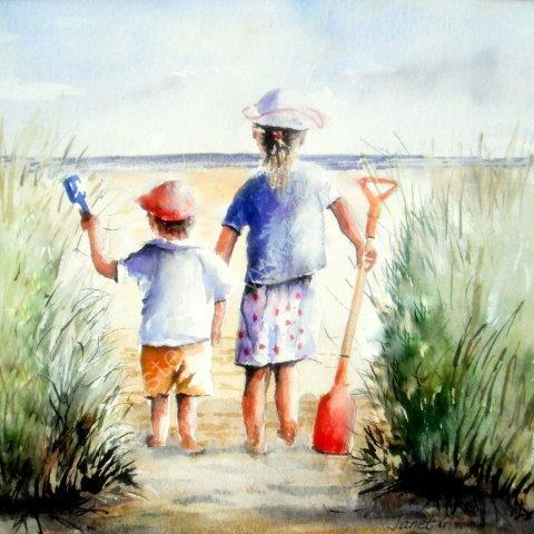 children, bucket and spade, coastal, brother, sister, beach, love, family, art, painting