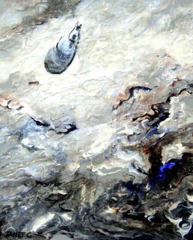 impressionist, textural, landscape, seascape, ocean, art, contemporary, shells
