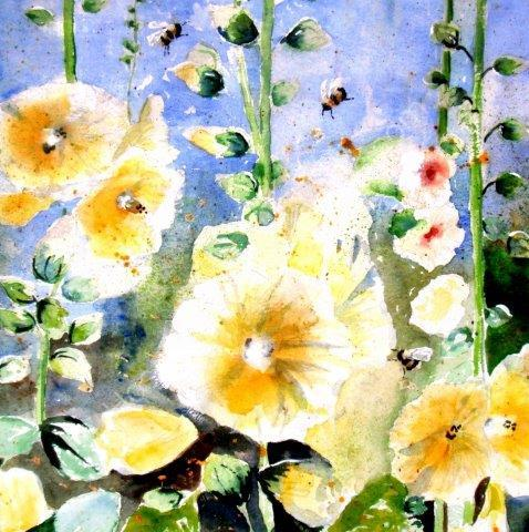 Hollyhocks and Bees