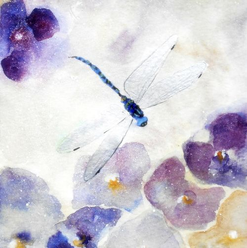 dragonfly, pretty, flowers, greeting card, birthday, get well soon, insects, any occasion, blank inside, friends birthday,thank you, fine art watercolour, contemporary, congratulations, greetings