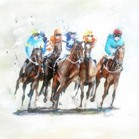 Horse racing, horses, betting, male sports, running, horse jumping, uncle, birthday, card, greeting, watercolour, animals, sport, contemporary, fine, art,